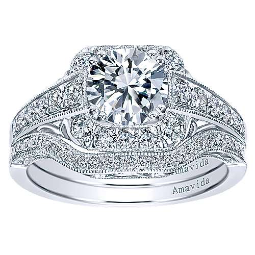 Spice Platinum Round Halo Engagement Ring angle 4