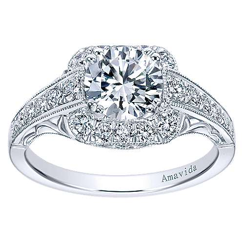 Spice Platinum Round Halo Engagement Ring angle 5