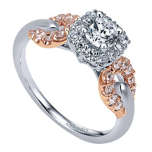 Spirit 14k White And Rose Gold Round Halo Engagement Ring angle 3