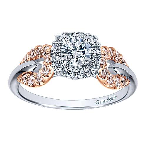 Spirit 14k White And Rose Gold Round Halo Engagement Ring angle 5