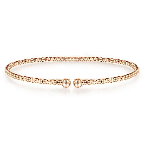 Split 14K Rose Gold Beaded Bujukan Bangle