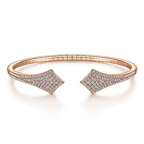 Split 14K Rose Gold Diamond Pavé Kite Bangle