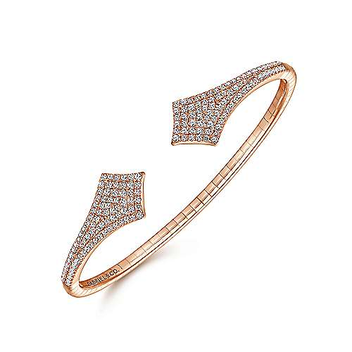 Split 14K Rose Gold Diamond Pavé Kite Bangle