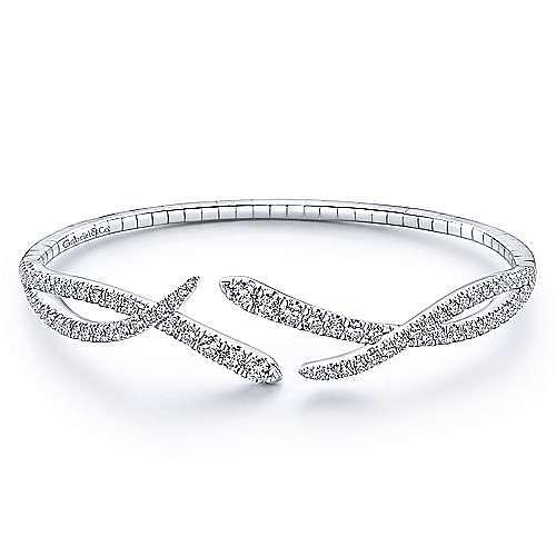 Split 14K White Gold Asymmetrical Diamond Criss Cross Bangle