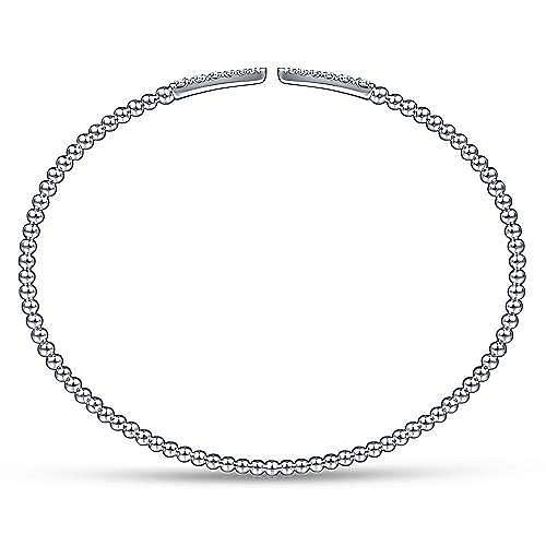 Split 14K White Gold Bujukan Bead Cuff Bracelet with Diamond Pavé Spikes
