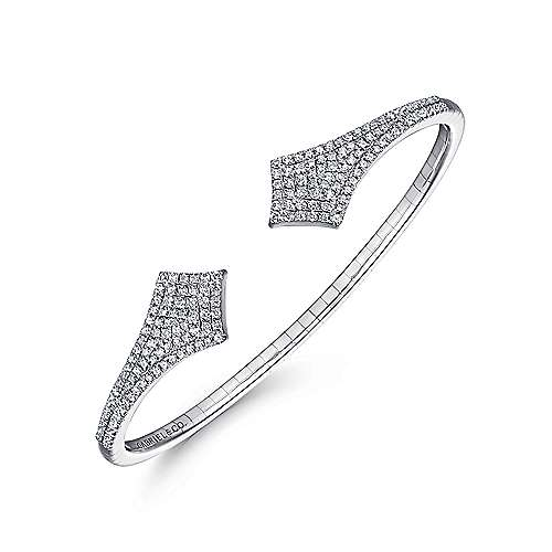 Split 14K White Gold Diamond Pavé Kite Bangle