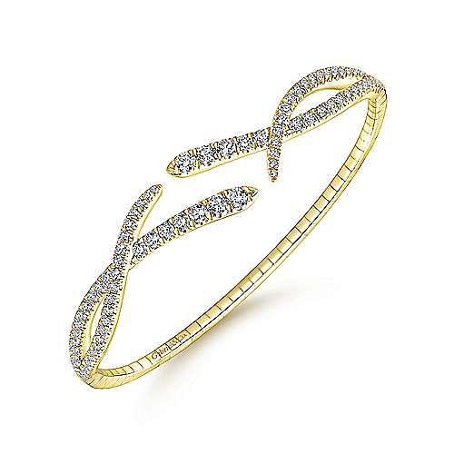 Split 14K Yellow Gold Asymmetrical Diamond Criss Cross Bangle