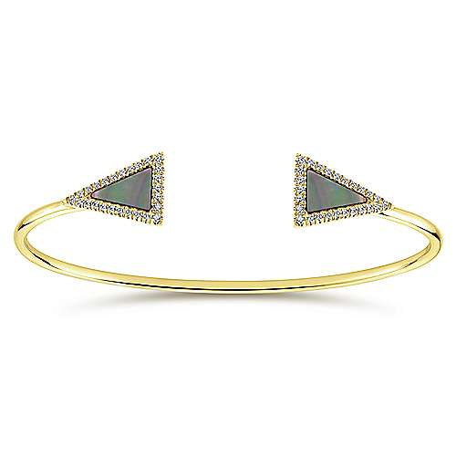 Split 14K Yellow Gold Bangle with Black MOP and Diamond Triangles