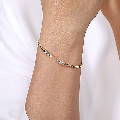 Split 14K Yellow Gold Bujukan Bead Cuff Bracelet with Diamond Pavé Spikes