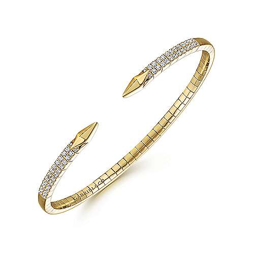 Split 14K Yellow Gold Diamond Spear Bangle