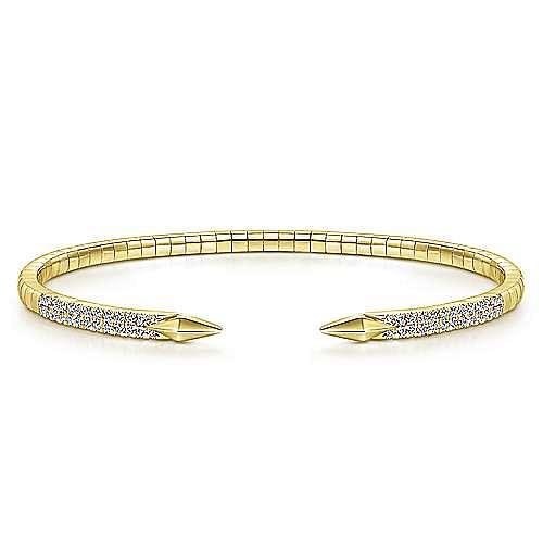 Split 14K Yellow Gold Diamond Spear Bangle