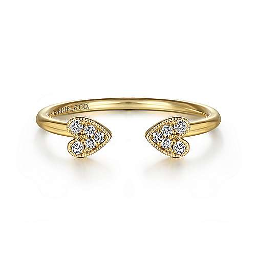 Split 14K Yellow Gold Pavé Diamond Heart Ring