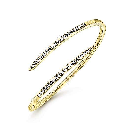 Split 14K Yellow Gold and Diamond Bypass Bangle