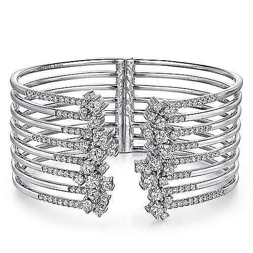 Split 18K White Gold Multi Row Diamond Bangle