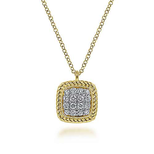 Square 14K Yellow Gold Pavé Diamond Pendant Necklace with Twisted Rope Frame