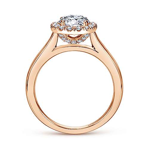 Stacy 14k Rose Gold Round Halo Engagement Ring angle 2