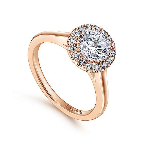 Stacy 14k Rose Gold Round Halo Engagement Ring angle 3