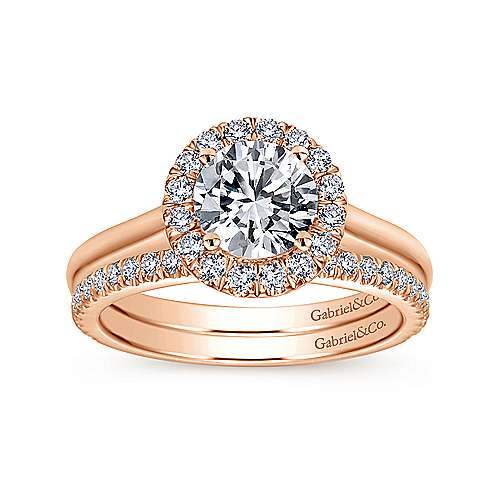 Stacy 14k Rose Gold Round Halo Engagement Ring angle 4