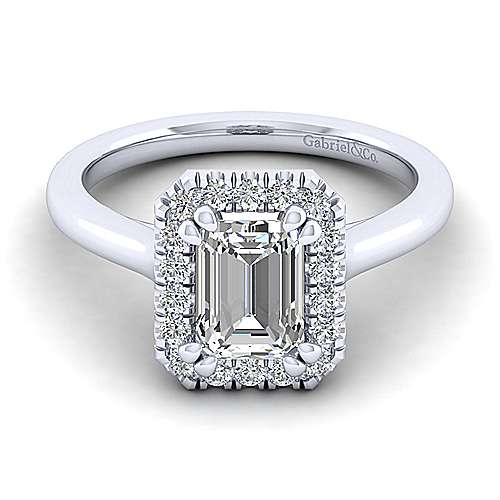 Gabriel - Stacy 14k White Gold Emerald Cut Halo Engagement Ring