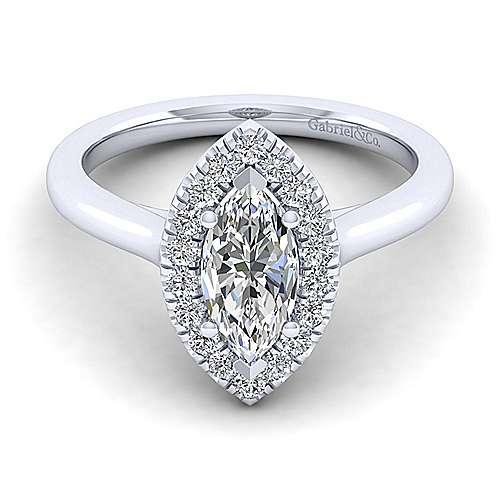 Gabriel - Stacy 14k White Gold Marquise  Halo Engagement Ring