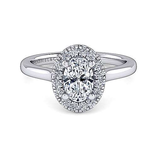 Gabriel - Stacy 14k White Gold Oval Halo Engagement Ring