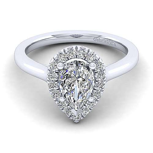 Gabriel - Stacy 14k White Gold Pear Shape Halo Engagement Ring