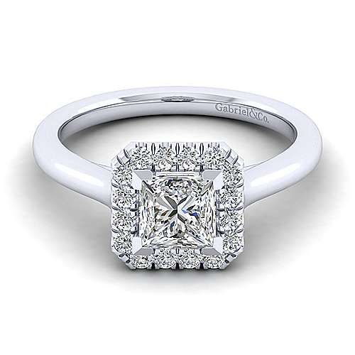 Gabriel - Stacy 14k White Gold Princess Cut Halo Engagement Ring
