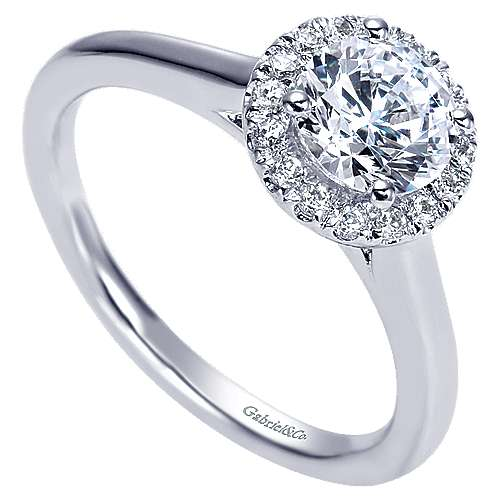 Stacy 14k White Gold Round Halo Engagement Ring angle 3