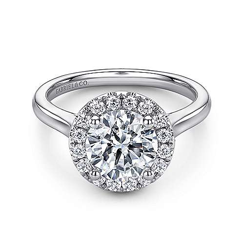 Gabriel - Stacy 14k White Gold Round Halo Engagement Ring
