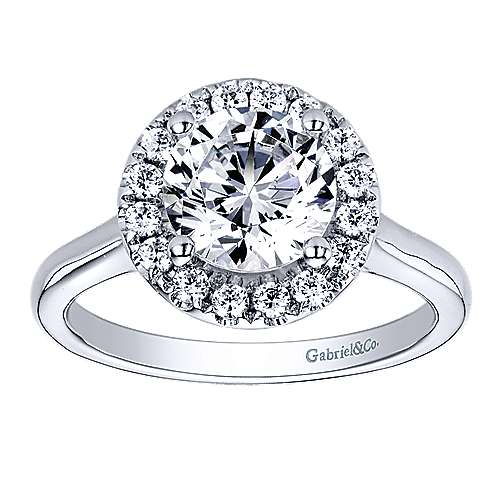 Stacy 14k White Gold Round Halo Engagement Ring angle 5