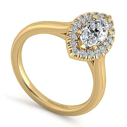 Stacy 14k Yellow Gold Marquise  Halo Engagement Ring angle 3