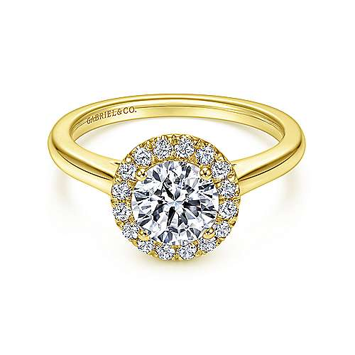 Gabriel - Stacy 14k Yellow Gold Round Halo Engagement Ring