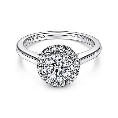 Stacy Platinum Round Halo Engagement Ring angle 1