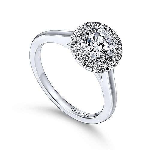 Stacy Platinum Round Halo Engagement Ring angle 3