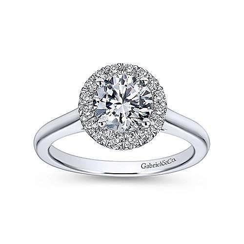 Stacy Platinum Round Halo Engagement Ring angle 5