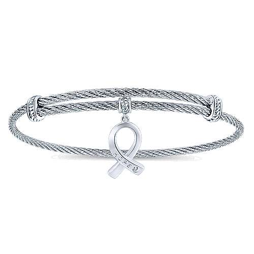 Stainless Steel Twisted Cable Bangle with Silver and White Sapphire