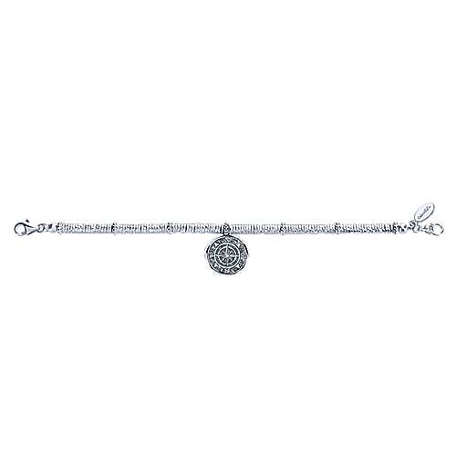 Stainless Steel and 925 Sterling Silver Compass Charm Bracelet with White Sapphire