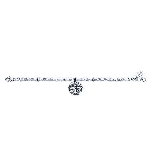 Stainless Steel and 925 Sterling Silver Cross Charm Bracelet with White Sapphire