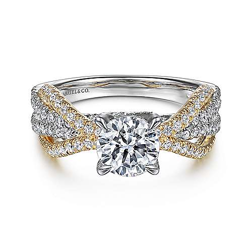 c7f74f17132 Starlet 14k Yellow And White Gold Round Twisted Engagement Ring