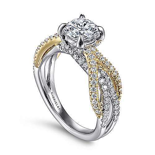 Starlet 14k Yellow And White Gold Round Twisted Engagement Ring