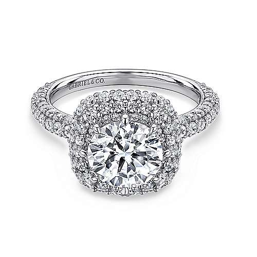 Gabriel - Stellar 14k White Gold Round Double Halo Engagement Ring