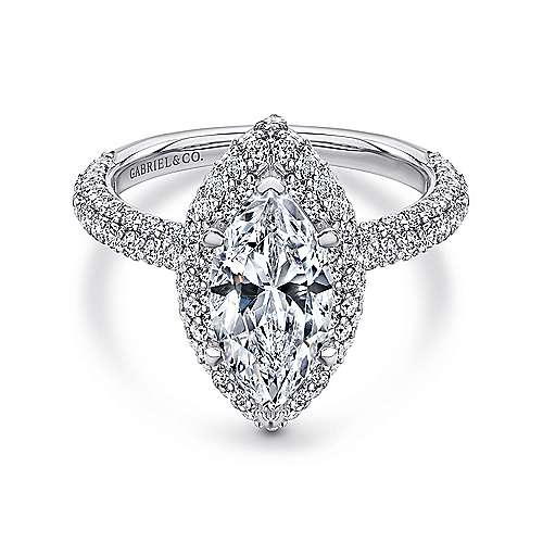 Gabriel - Stellar 18k White Gold Marquise  Double Halo Engagement Ring