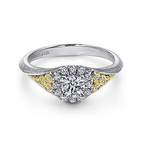 Gabriel - Strength 14k Yellow And White Gold Round Halo Engagement Ring