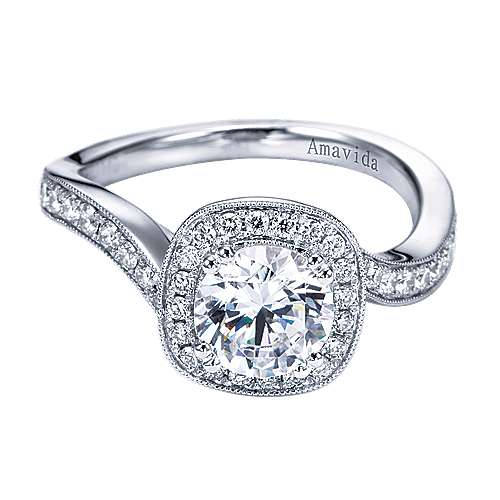 Suede 18k White Gold Round Halo Engagement Ring angle 1