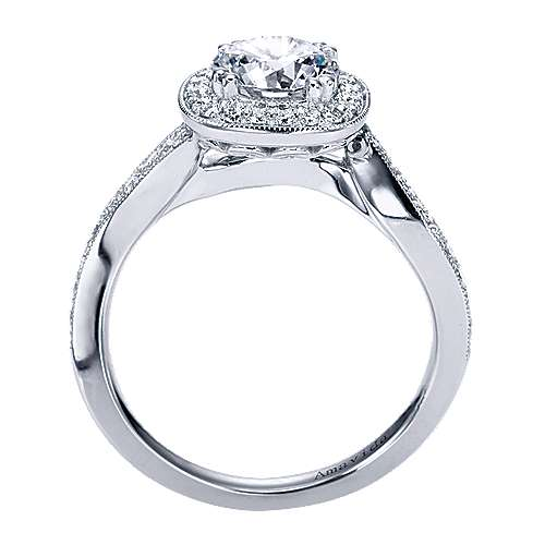 Suede 18k White Gold Round Halo Engagement Ring angle 2
