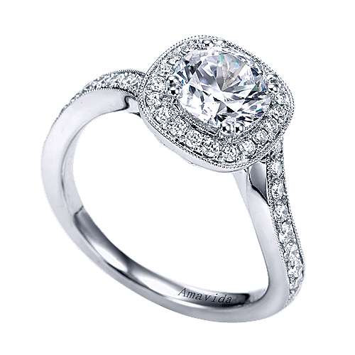 Suede 18k White Gold Round Halo Engagement Ring angle 3