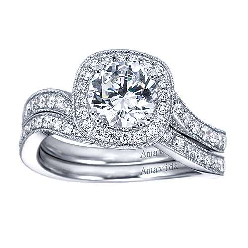 Suede 18k White Gold Round Halo Engagement Ring angle 4