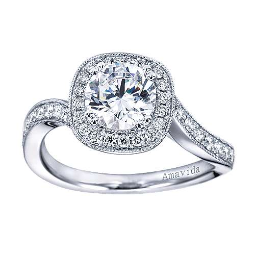 Suede 18k White Gold Round Halo Engagement Ring angle 5