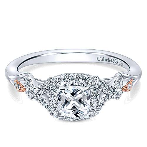 Gabriel - Surge 14k White And Rose Gold Cushion Cut Halo Engagement Ring