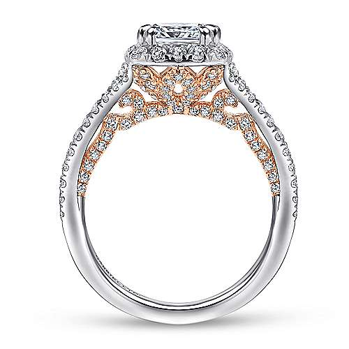 Susanna 18k White And Rose Gold Cushion Cut Halo Engagement Ring angle 2